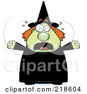 Royalty Free RF Clipart Illustration Of A Plump Green Witch Freaking Out