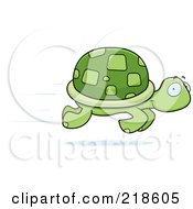 Royalty Free RF Clipart Illustration Of A Fast Turtle Speeding By