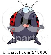 Royalty Free RF Clipart Illustration Of A Ladybug Running by Cory Thoman