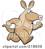 Royalty Free RF Clipart Illustration Of A Tan Aardvark Running by Cory Thoman