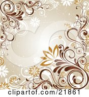 Clipart Picture Illustration Of A Grunge Green Background With White Orange And Brown Vines And Flowers