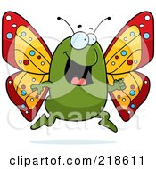 Royalty Free RF Clipart Illustration Of A Green Butterfly Running by Cory Thoman