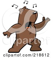 Royalty Free RF Clipart Illustration Of A Groundhog Singing And Lunging Forward by Cory Thoman