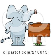Royalty Free RF Clipart Illustration Of An Elephant Standing Beside A Blank Wood Sign