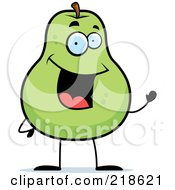 Royalty Free RF Clipart Illustration Of A Happy Pear Character Waving