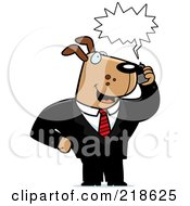 Royalty Free RF Clipart Illustration Of A Business Dog Using A Cell Phone