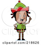 Royalty Free RF Clipart Illustration Of A Black Christmas Elf Girl With An Idea
