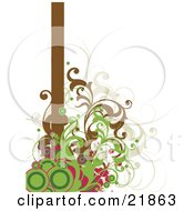 Clipart Picture Illustration Of Green And Pink Circles With Brown Vines Growing At The Bottom Of A Vertical Brown Bar On A White Background