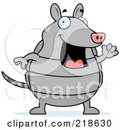 Royalty Free RF Clipart Illustration Of A Happy Gray Armadillo Waving by Cory Thoman