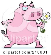 Royalty Free RF Clipart Illustration Of A Pink Hippo Presenting A Daisy
