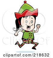 Royalty Free RF Clipart Illustration Of A Christmas Elf Girl Running