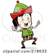 Royalty Free RF Clipart Illustration Of A Christmas Elf Girl Doing A Happy Dance