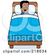 Royalty Free RF Clipart Illustration Of A Happy Black Boy Tucked Into Bed by Cory Thoman