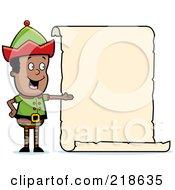 Royalty Free RF Clipart Illustration Of A Black Christmas Elf Boy Presenting A Blank Scroll Sign