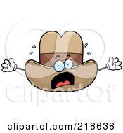 Royalty Free RF Clipart Illustration Of A Panicked Cowboy Hat Freaking Out by Cory Thoman