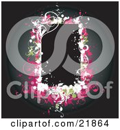 Clipart Picture Illustration Of A Blank Black Text Box Bordered With White Green And Pink Vines And Flowers Over A Dark Background