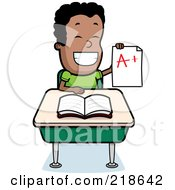 Royalty Free RF Clipart Illustration Of A Happy Black Boy Holding Up An A Plus Report Card At His Desk by Cory Thoman