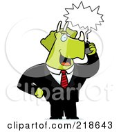 Royalty Free RF Clipart Illustration Of A Business Triceratops Using A Cell Phone by Cory Thoman