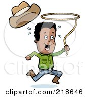 Royalty Free RF Clipart Illustration Of A Black Cowboy Swinging A Lasso