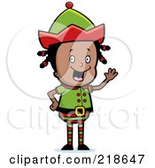 Royalty Free RF Clipart Illustration Of A Black Christmas Elf Girl Waving