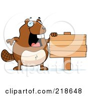 Royalty Free RF Clipart Illustration Of A Happy Beaver Standing Upright By A Wood Sign