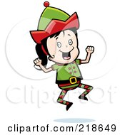Royalty Free RF Clipart Illustration Of A Christmas Elf Girl Jumping