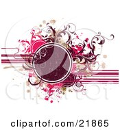 Clipart Picture Illustration Of A Deep Red Circle Text Space With Red Brown Green And Pink Splatters And Vines Over A White Background