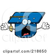 Royalty Free RF Clipart Illustration Of A Panicked Graduation Cap Freaking Out by Cory Thoman