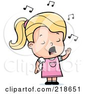Royalty Free RF Clipart Illustration Of A Blond Girl Singing by Cory Thoman