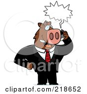 Royalty Free RF Clipart Illustration Of A Business Boar Using A Cell Phone by Cory Thoman