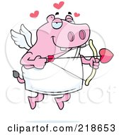 Royalty Free RF Clipart Illustration Of A Pink Cupid Hippo