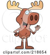 Royalty Free RF Clipart Illustration Of A Friendly Moose Standing And Waving