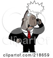 Royalty Free RF Clipart Illustration Of A Business Ape Using A Cell Phone by Cory Thoman