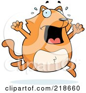Royalty Free RF Clipart Illustration Of A Panicing Orange Cat Freaking Out