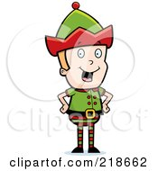 Royalty Free RF Clipart Illustration Of A Happy Blond Christmas Elf Boy Standing With His Hands On His Hips