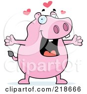 Royalty Free RF Clipart Illustration Of A Pink Hippo In Love