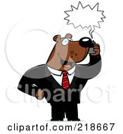 Royalty Free RF Clipart Illustration Of A Business Bear Using A Cell Phone by Cory Thoman