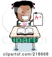 Royalty Free RF Clipart Illustration Of A Happy Black Girl Holding An A Plus Report Card At Her Desk by Cory Thoman