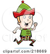 Royalty Free RF Clipart Illustration Of A Blond Christmas Elf Boy Running