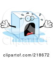 Royalty Free RF Clipart Illustration Of A Panicked Ice Cube Freaking Out