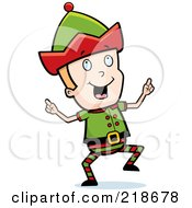 Royalty Free RF Clipart Illustration Of A Blond Christmas Elf Boy Doing A Happy Dance