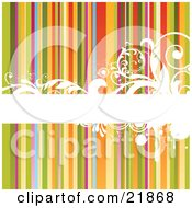 Clipart Picture Illustration Of A Horizontal Blank White Bar With Elegant Scrolls And Vines Over A Rainbow Striped Background