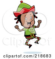 Royalty Free RF Clipart Illustration Of A Black Christmas Elf Girl Jumping