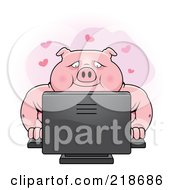 Royalty Free RF Clipart Illustration Of A Chubby Pig Using A Desktop Computer by Cory Thoman
