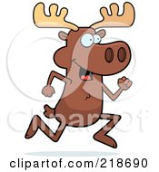 Royalty Free RF Clipart Illustration Of A Moose Running