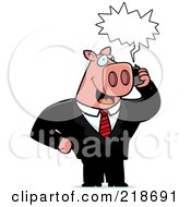 Royalty Free RF Clipart Illustration Of A Business Pig Using A Cell Phone by Cory Thoman