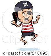 Royalty Free RF Clipart Illustration Of A Happy Pirate Girl Jumping