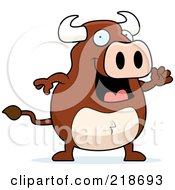 Royalty Free RF Clipart Illustration Of A Happy Bull Waving by Cory Thoman