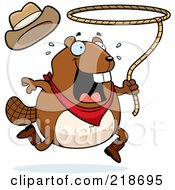 Royalty Free RF Clipart Illustration Of A Happy Beaver Swinging A Lasso
