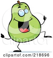 Royalty Free RF Clipart Illustration Of A Happy Pear Character Dancing